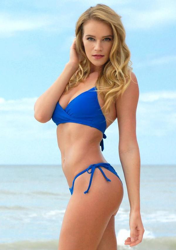 Swimwear: blue, bikini, summer, cheeky, spring break ...