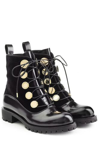 boots ankle boots leather velvet black shoes