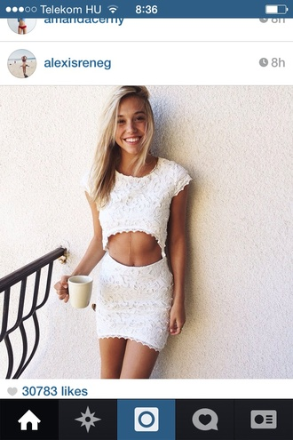 white lace dress with cut out stomach dress white dress crop tops white lace summer fashion outfit cut-out fashion inspo lace dress alexis ren floral