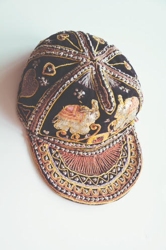 hat sequins hipst thai elephant blogger brands clothes fitted hat tight yellow red black gold orange