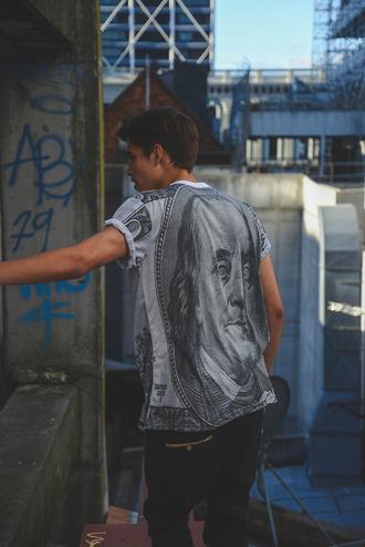 t-shirt shirt white t-shirt printed dollar hipster grunge t-shirt
