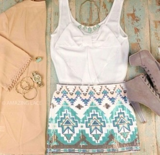 skirt blue printed skirt blouse white dress shoes blue short aztec print summer outfits summer cute classy gorgeous shirt cardigan