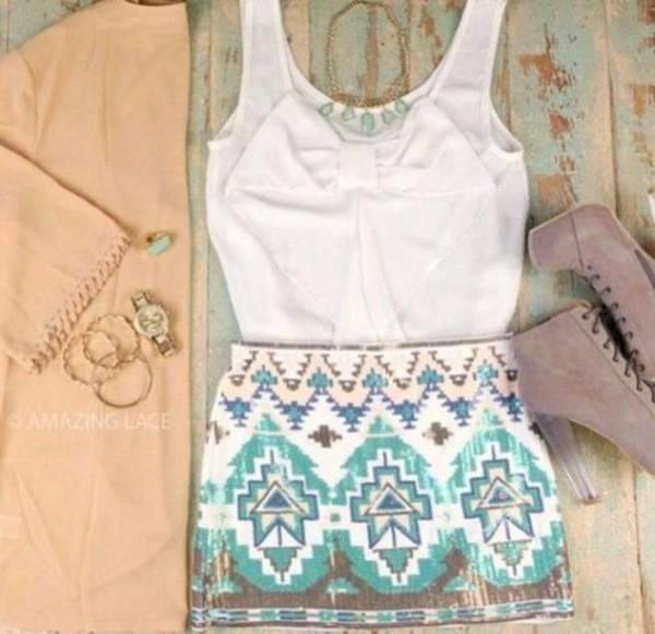skirt blue printed skirt blouse white dress shoes blue short aztec print aztec summer outfits summer cute classy gorgeous shirt cardigan