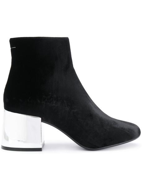 Mm6 Maison Margiela heel metallic women heel boots leather black velvet shoes