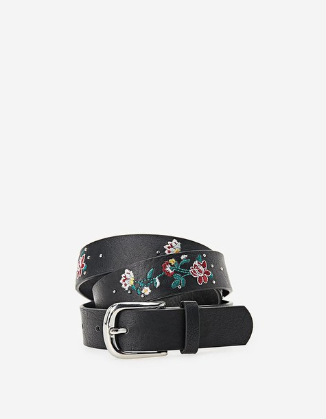 Stradivarius studs belt floral black