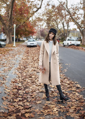 tsangtastic,blogger,coat,top,pants,shoes,fall outfits,nude coat,boots,gucci shoes