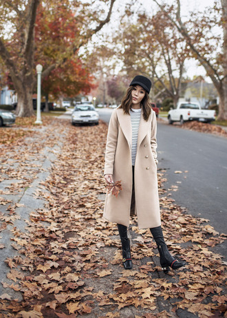 tsangtastic blogger coat top pants shoes fall outfits nude coat boots gucci shoes