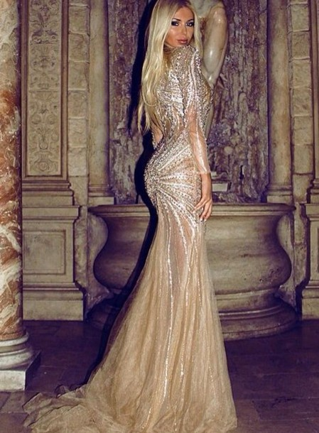 dress gown evening dress prom dress gold sequin dress beaded dress haute couture sherri hill jovani tarik ediz gold dress