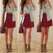 skirt,burgundy,red,red skirt,scalloped,scallop skirt,high waisted skirt,white,crop tops,sweetheart neckline,jeans,denim shirt,jacket,brown leather bag,boots,shirt,bag,shoes,jewels,jewelry,necklace,red mini skirt,skater skirt,cute,summer,cute dress,tank top,burgundy skirt,blouse,clothes,shorts,andbag,wedges,brown,denim,girl,outfit,hair,bracelets,crptop,flare skirt,white crop tops,coat,sweater,bustier,corset top,bandeau,denim jacket,light blue,red skater skirt,tumblr clothes,spring outfits,top,blue,booties,morone,cute skirt,ruffle,dress,short skirt,flowy skirt,brown boot wedges,jean jackets,skater,high waisted,tumblr outfit,girly,help me find this skirt,outfit idea,summer outfits,hipster