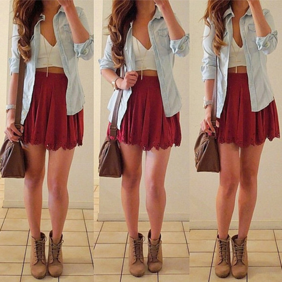 red skirt jacket skirt bag shoes red scallop scallop skirt high waisted skirt white crop tops sweetheart neckline denim jean shirt brown leather bag boots shirt burgundy