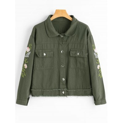 Army green Floral Patched Frayed Hem Denim Jacket ONE SIZE-$26.55 Online Shopping  GearBest.com