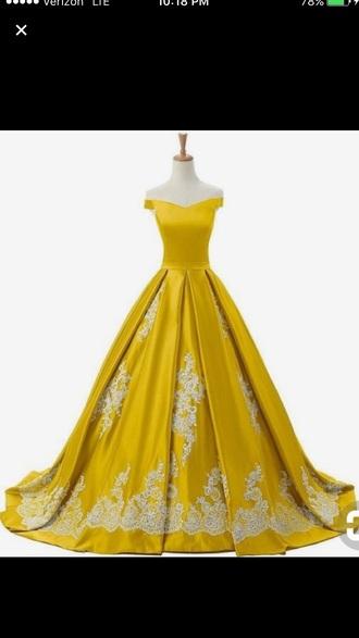dress yellow off-the-shoulder prom dress long dress princess dress