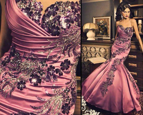 purple dress mermaid dress