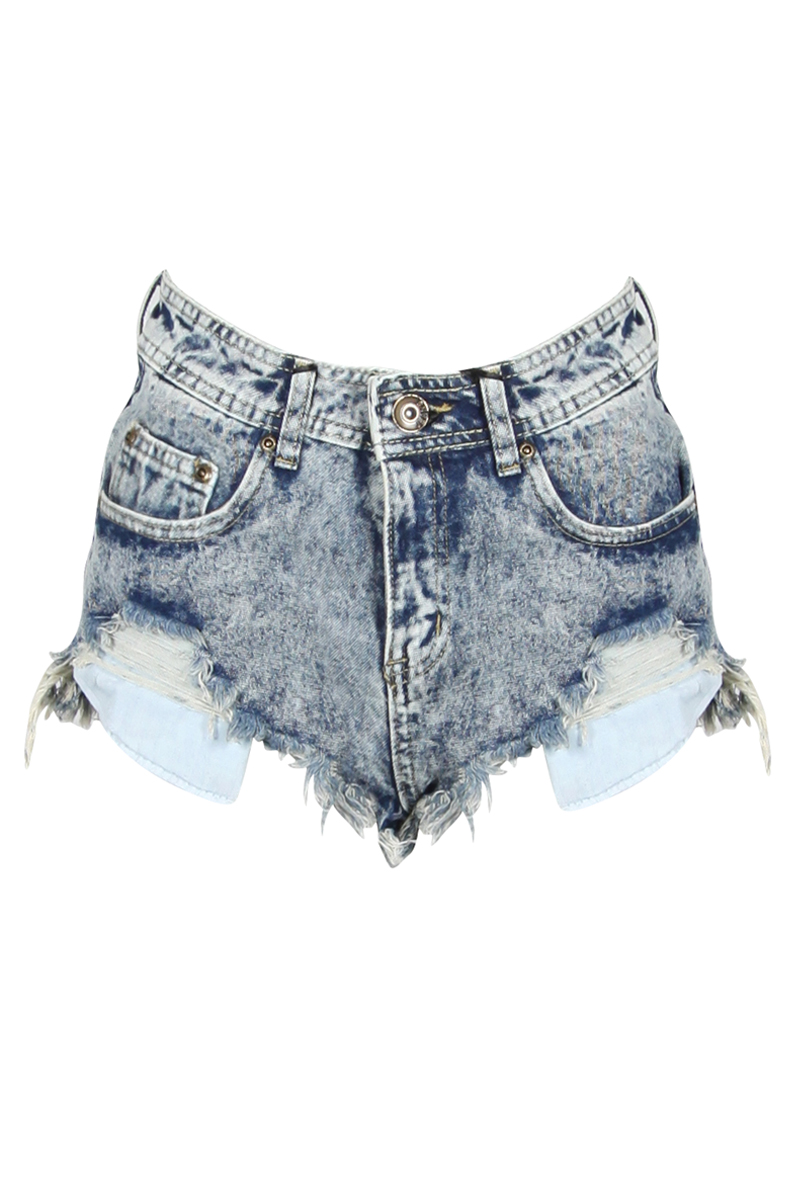 NEW WOMENS GLAMOROUS BLUE DENIM ACID WASH DISTRESSED HOTPANT LADIES FRAYED SHORT | eBay