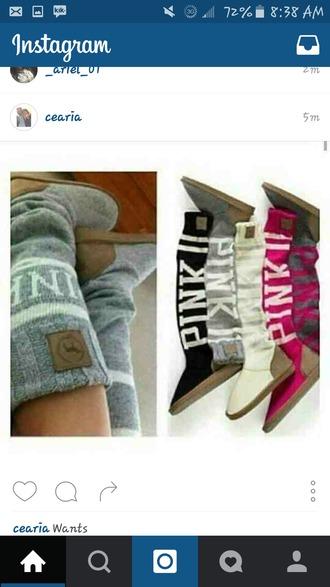 shoes pink boots victoria's secret