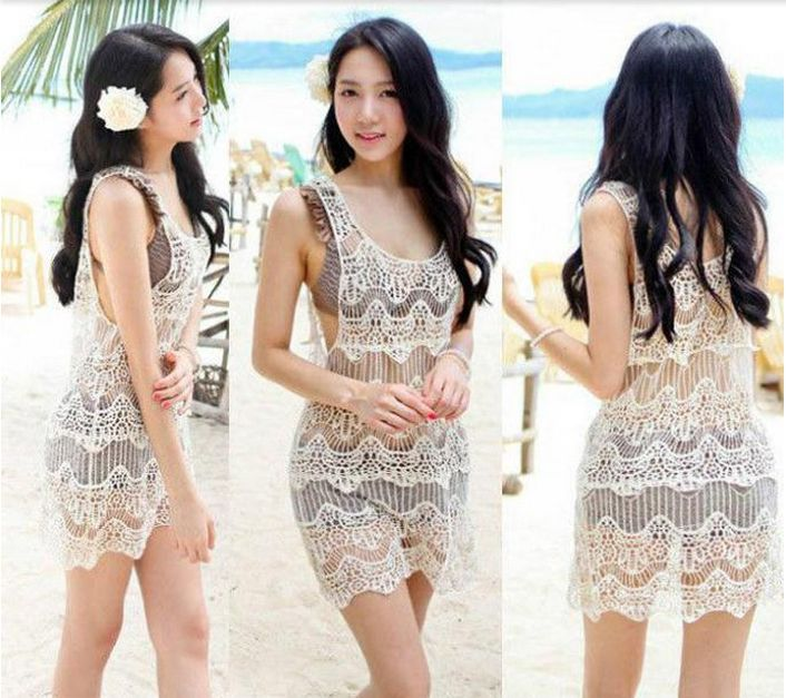 Women Lace Crochet Sleeveless Swimwear Bikini Cover Up Beach Dress Vintage Beige | eBay
