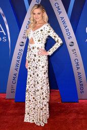 dress,kelsea ballerini,cma awards,gown,maxi dress,long sleeve dress