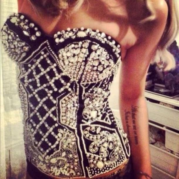 f44e3a89e6 tank top bustier top corset top t-shirt shirt sparkle black glitter pearl  glamour blouse