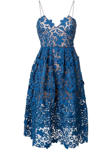 self-portrait dress lace dress women spandex lace floral blue