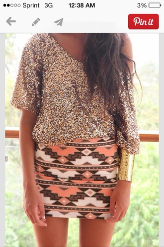 skirt aztec detail and exact colors shirt gold sparkley off the shoulder