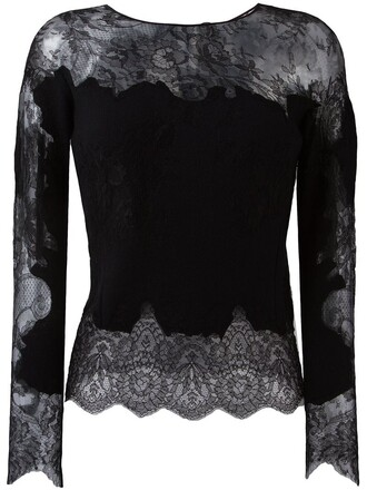 top knitted top women lace black silk wool