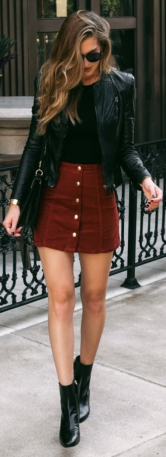 skirt pretty fashion cord style red mini mini skirt buttons elegant gorgeous neutral sunglasses high waisted black top leather jacket black boots street outfit idea beautiful classy chic new york city buttoned skirt jacket brown skirt button up skirt