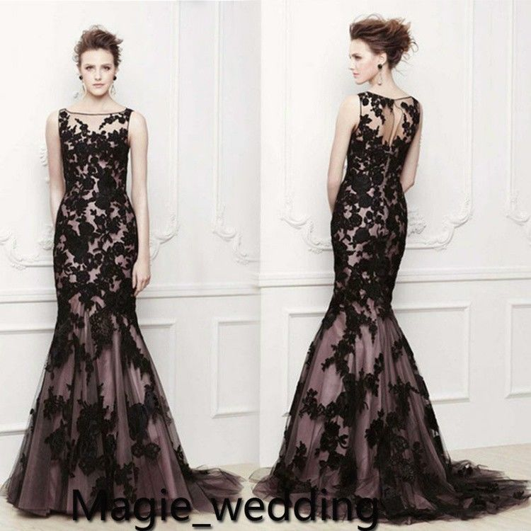 2014 new black mermaid lace evening dress cocktail party