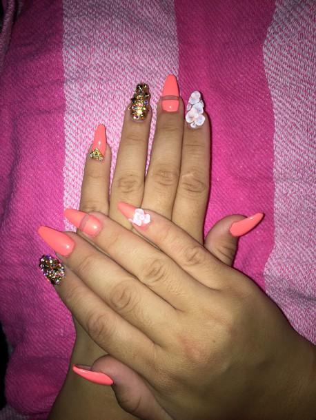 Nail Polish Nails Coral Peach Erica Coffin Cute Pretty Nice Sexy Clean Beautiful Elegant