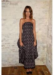 dress,alexa chung,strapless,maxi dress,gown,fashion week,prom dress,shoes