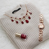 jewels,necklace,gold jewelry,gold watch,sweater,red,winter sweater,pullover,wine red,nude,nail polish