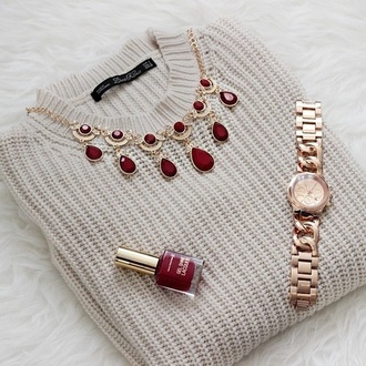 jewels necklace sweater winter sweater gold watch pullover wine red nude nail polish