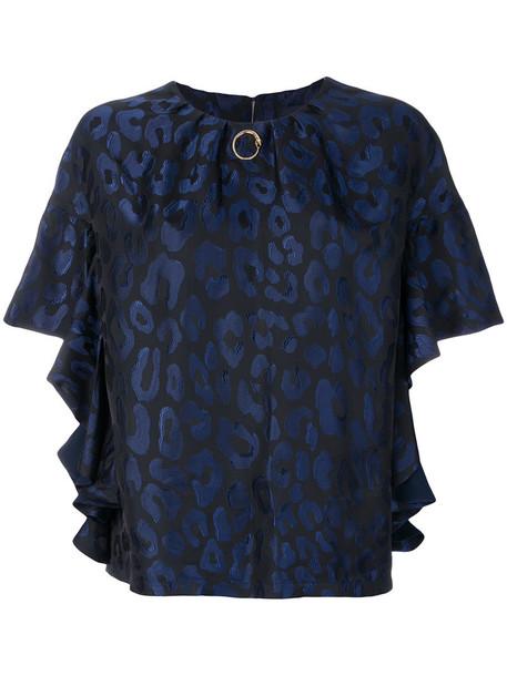 Cavalli Class - gathered leopard blouse - women - Polyester/Acetate/Viscose - 44, Blue, Polyester/Acetate/Viscose