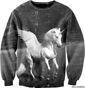 b&w unicorn