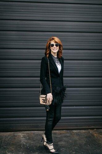 themiddlepage blogger jacket blouse leggings jewels sunglasses bag black blazer blazer chanel bag chanel high heel pumps pumps black pants