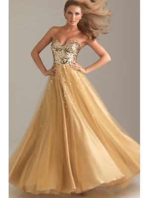 Buy Fabulous Sweetheart Neckline Floor Length Tulle Sequined Ball Gown Prom Dress under 400-SinoAnt.com