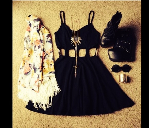 dress little black dress winter sweater sweater celebrity style celebrity style aztec style necklace retro sunglasses shoes platform shoes black shoes sunglasses jacket jewels edgy