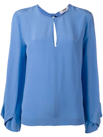 blouse back women blue silk top