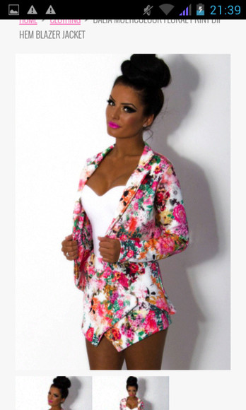 jacket floral shorts tropical colorful