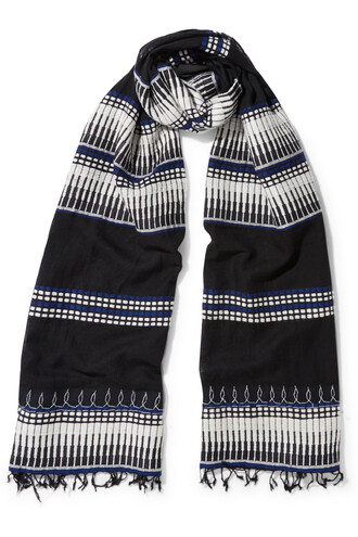embroidered scarf cotton black