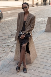 coat,blazer,brown blazer,dress,black dress,slide shoes,black slides,sunglasses