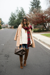 thegirlintheyellow dress,blogger,coat,sweater,jeans,shoes,scarf,sunglasses,bag,beige coat,louis vuitton bag,winter outfits,tartan scarf,thigh high boots,boots