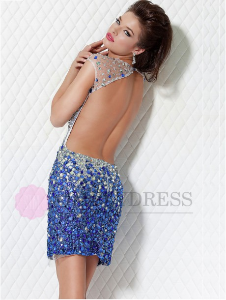 Sleeveless Natural Short/Mini Rhinestone Backless Cocktail Dresses - simplydress.ca