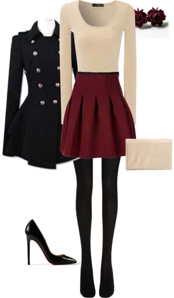 coat found on pintrest back to school black coat jacket navy army green jacket fancy dressy buttons skirt shoes red skirt skater skirt cream top beige top burgundy red beige cream cream pink shirt black pumps blouse tights bag rosebud earrings military coat patent shoes black tights burgundy skirt cream sweater shirt pleated skirt christmas party high waisted skirt fall outfits cute black cardigan leggings jewels winter outfits heels outfit idea earrings purse handbag wine colored skirt long pinterest top ivory cream blouse love this outfit