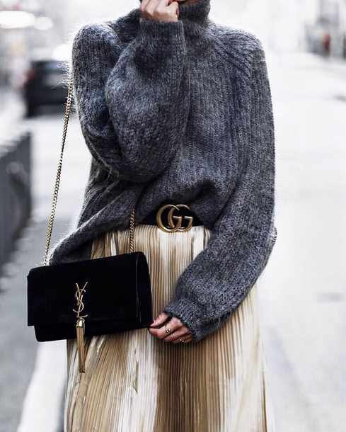sweater tumblr knit knitted sweater turtleneck turtleneck sweater grey sweater bag black bag skirt metallic pleated skirt pleated pleated skirt gold skirt