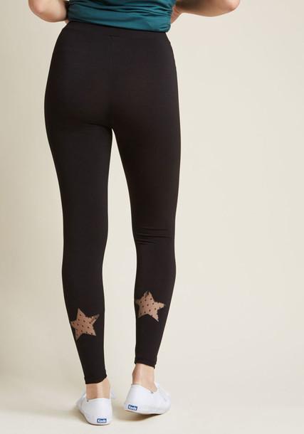 510006 Star Mesh Leggings leggings black leggings casual back sheer mesh embellished black pants