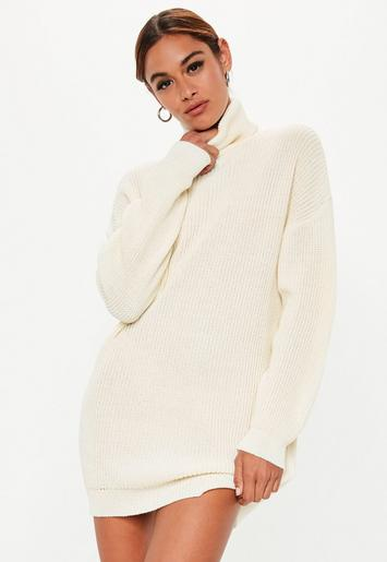 Missguided - White Roll Neck Knitted Sweater Dress