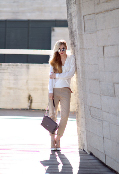 studded shoes blogger bag jewels oh my vogue blouse mirrored sunglasses