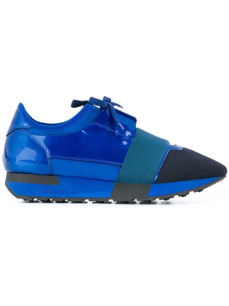 Balenciaga women sneakers leather blue shoes