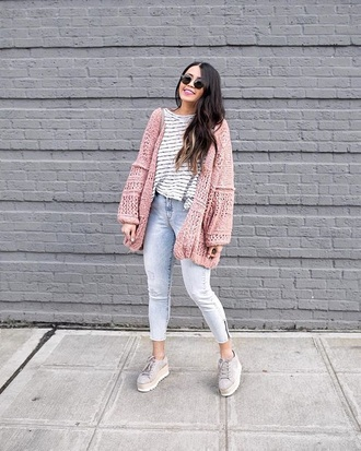 cardigan pink cardigan top striped top shoes nude shoes sunglasses stripes jeans blue jeans denim