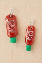 bag,sriracha,bag charm,hot sauce in my bag swag,keychain